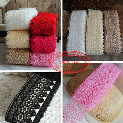 1 Yard,Embroidered Crochet Lace Trim Ribbon Appliques Wedding Sewing Crafts FL99