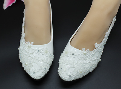 fashion Lace white ivory crystal Wedding shoes Bridal flats low high heel pump