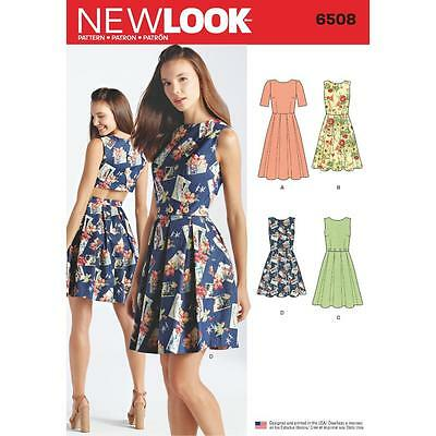 NEW LOOK SEWING PATTERN MISSES' Dress Open or Closed Back Variations 10-22 6508