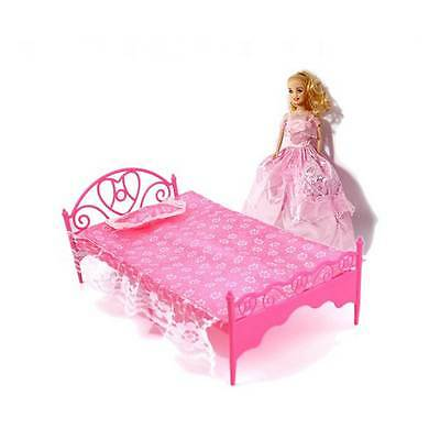 2016 Fashion Plastic Bed Bedroom Furniture Barbie Dolls Dollhouse Pink Toy