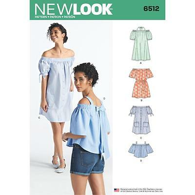 NEW LOOK SEWING PATTERN MISSES' Dresses Tops 2 Lengths  Sleeve Vars XS-XL 6512