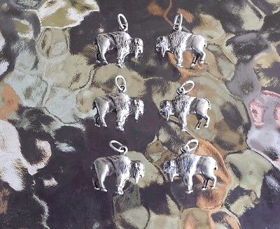 ZOO ANIMAL WESTERN JEWELRY 6 BUFFALO PEWTER CHARMS All New.