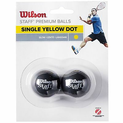Wilson Staff Yellow Dot Slow Advanced Competitive Squash Balls - Pack of 2