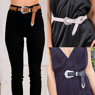 Womens Single Buckle Thick Quality Faux Leather Western Belt Ladies Waist Band