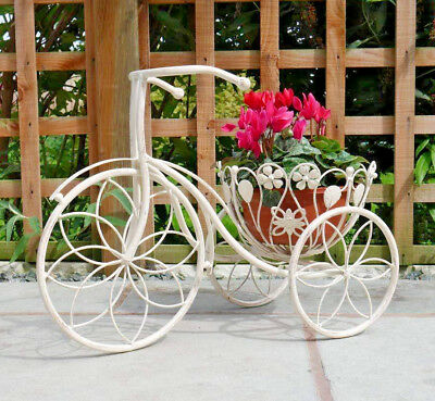 Vintage Bike Planter Antique Cream Rustic Retro Basket Metal Garden Ornament New