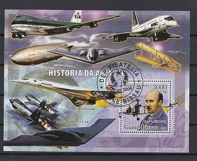 Guinea Bissau 2016 History of Aviation. Airplanes. S/S. CTO. VF