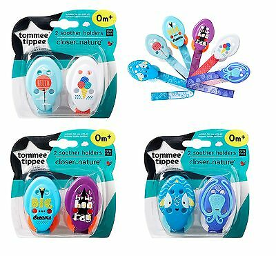 Baby Soother Dummy Holder Clip Strap Chain Tommee Tippee Closer to Nature x2