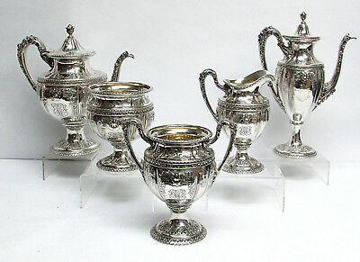 MAGNIFICENT BLACK STARR & FROST STERLING SILVER RETICULATED 5pc TEA & COFFEE SET