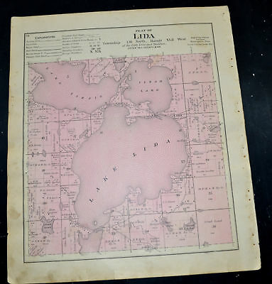 1884 OTTER TAIL COUNTY MAP MINNESOTA Maplewood and Lida Townships