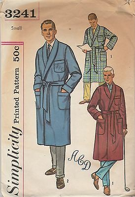 Vintage Sewing Pattern Simplicity 3241 Men's Robe 1960s Size Small