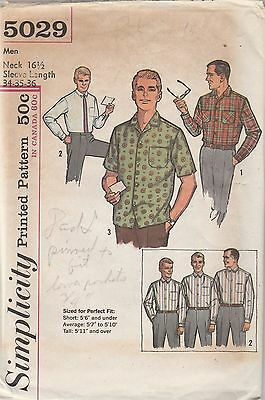 Vintage Sewing Pattern Simplicity 5029 Man's Shirt 1960s Neck 16 1/2
