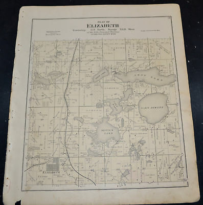 1884 OTTER TAIL COUNTY MAP MINNESOTA Elizabeth and Erhards Grove Townships