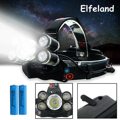 50000LM Elfeland 5x T6 LED Rechargeable Headlamp Head Lamp Light Torch Charger