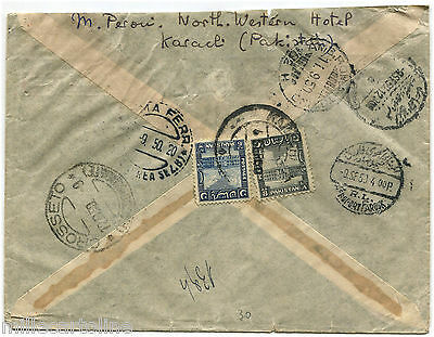PAKISTAN, REGISTERED AIR MAIL FROM KARACHI TO ITALY, 1950, STAMP 8 AS + 6 AS   m