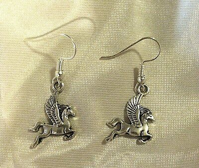 PAIR of Antiqued Silver PEGASUS EARRINGS SP French Hooks FLYING HORSE Cool GIFT!