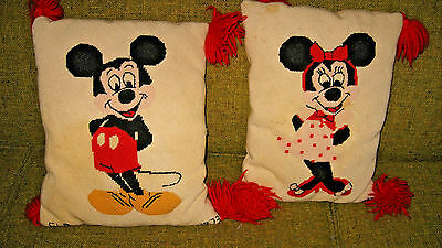 Vintage MCM Disney Mickey & Minnie Mouse Needlepoint Pillows c1973 Handmade