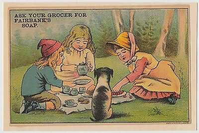 Children at Tea Party, Fairbanks Soap, Victorian Trade Card