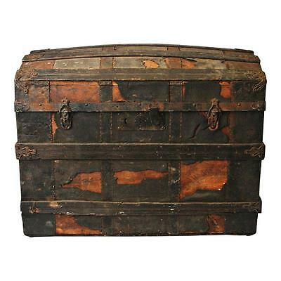 Vintage LARGE CAMELBACK TRUNK storage chest steamer humpback toy box old antique