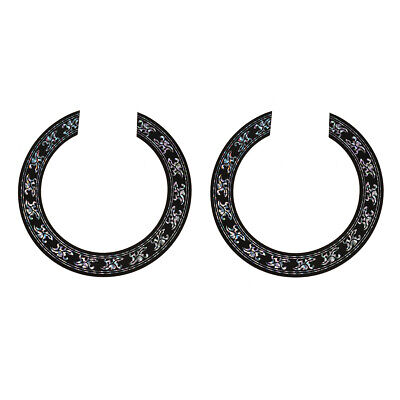 2Pcs Soundhole Rosette Decal for Classical Guitar Parts Black W/Chrome Pattern