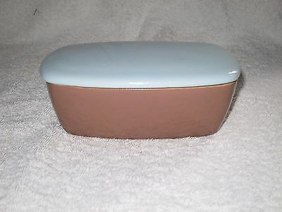 DENBY LUCERNE VINTAGE BUTTER DISH WITH LID  Blue Brown Great Condition