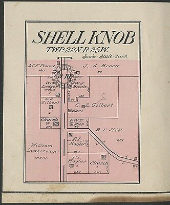 Shell Knob Missouri Map (Barry County) Authentic 1909. Streets, School, Stores