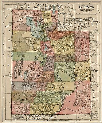 Utah Map: Authentic 1898; With 1890 census details included