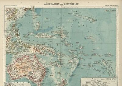 Australia & Polynesia FOUR Large, Detailed Sectional Maps; Fine Color/Dated 1908