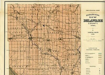 1898 DELAWARE County Iowa Map w/RRs, Towns, Cities, Primary Roads: Detailed