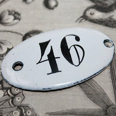 Vintage French Apothecary Porcelain Enamel Number Sign 46