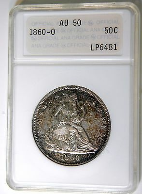 1860-O LIBERTY SEATED 50c ANACS AU-50 HOUSED IN 30YR OLD GOLD LABEL ANA/PNG HOLD