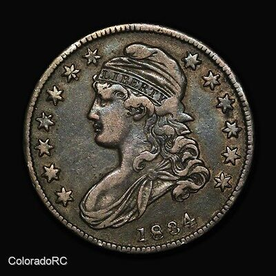 1834 50C Capped Bust Silver Half Dollar - Small Date - Very Fine+