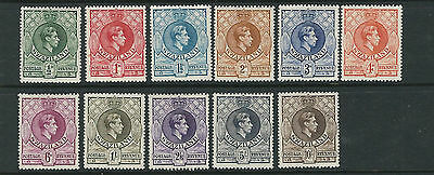 SWAZILAND 1938 KGVI definitives complete (Scott 27-37) F/VF MH
