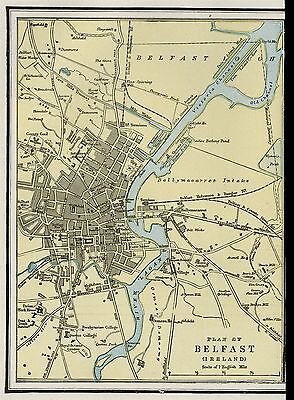 Belfast, Ireland City Street Map: Authentic 1899; Detailed, but SMALL