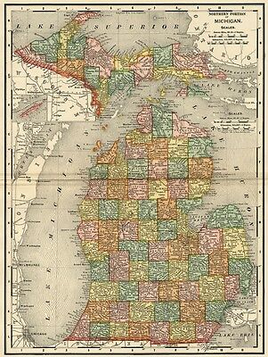 Michigan Map: Authentic 1895 (Dated) showing Towns, Counties, Railroads & More