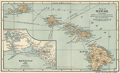 Hawaii Map: SMALL 1902 (Dated) Cities, Counties, RRs & 1900 Population