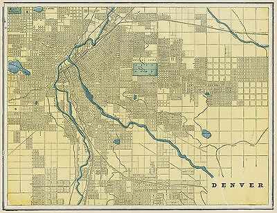 Denver Colorado Street Map: Authentic 1887; with Stations, Landmarks & more
