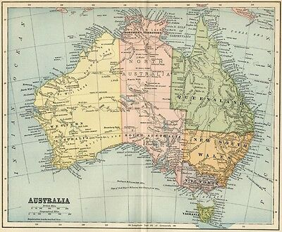 Australia Map: Authentic 1891 Showing States, Cities, Topography ++