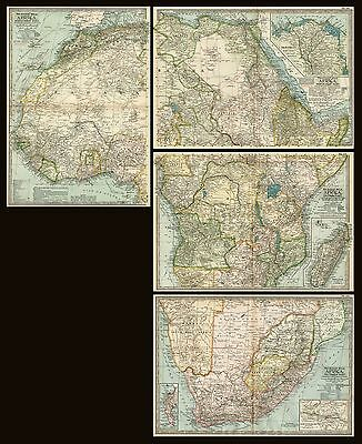 Africa: Lot of FOUR Maps: Authentic 1897 (Dated) Extremely Detailed / Sections