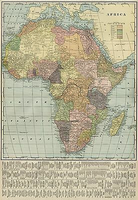 AFRICA Continent Map: Authentic 1899; Interesting States, RR Cities,Topography