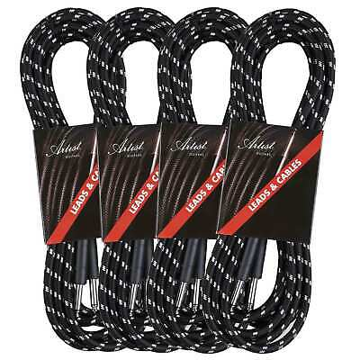 Artist FB20 20ft (6m) Fat Boy Braided Guitar Cable/Lead - 4 Pack - New