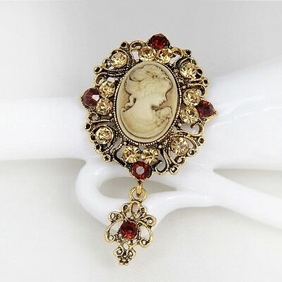 Vintage Cameo Brooch Pins Brooches for Women Rhinestones Broch Flower Brooch Pop