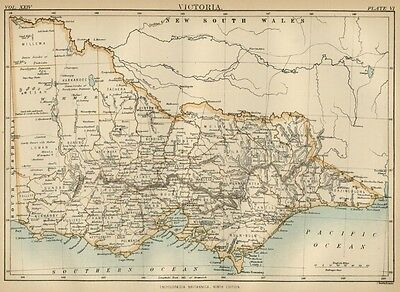 Victoria; Australia: Authentic 1889 Map showing Towns; Rivers; Topography +