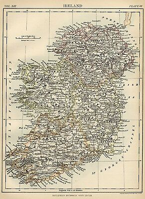 Ireland: Authentic 1889 Map showing Counties; Cities; Topography; Railroads