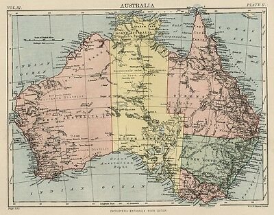 Australia: Authentic 1889 Map showing Cities; Rivers; Topography +