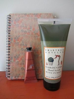 Crabtree & Evelyn - GARDENERS GIFT SET - Hand Scrub & Hand Therapy & Journal NEW
