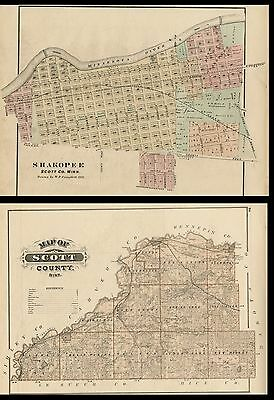 Shakopee MN Street Map Hand Color Plus Scott County Authentic 1874 Back-to-Back