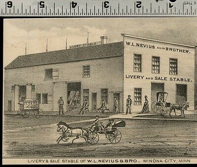 Nevius Livery Stable in Winona, Minnesota Authentic 1874 View (Small)
