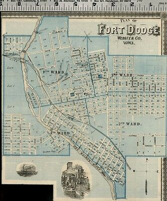 Fort Dodge Iowa Street Map / Plan (Webster County); Authentic 1875 Item