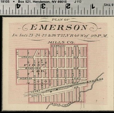 Emerson, Iowa Street Map / Plan (Mills County); Authentic 1875 Item
