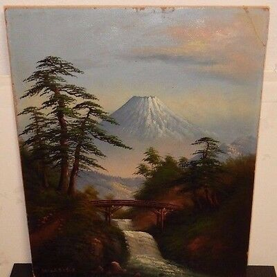 Old Japanese Oil On Board Fuji Mountain Bridge Landscape Painting Signed